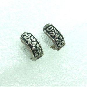 Silpada Scroll Huggie Hoop Earrings Sterling 925